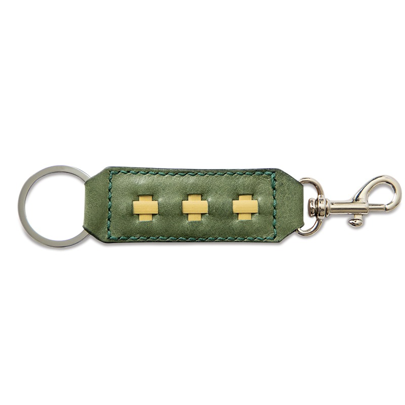 leather key ring and clasp olive green