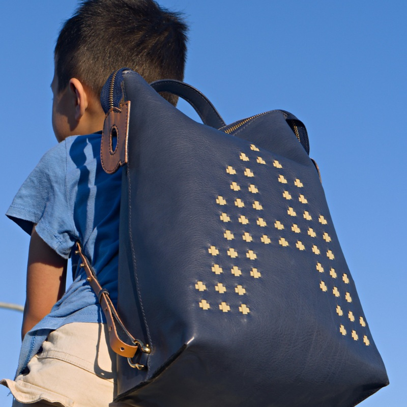 blue bamboo woven leather backpack