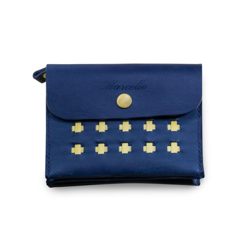 accordion wallet marine blue