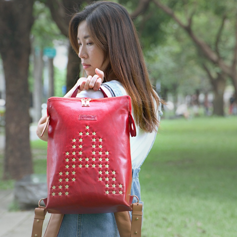 red backpack purse model