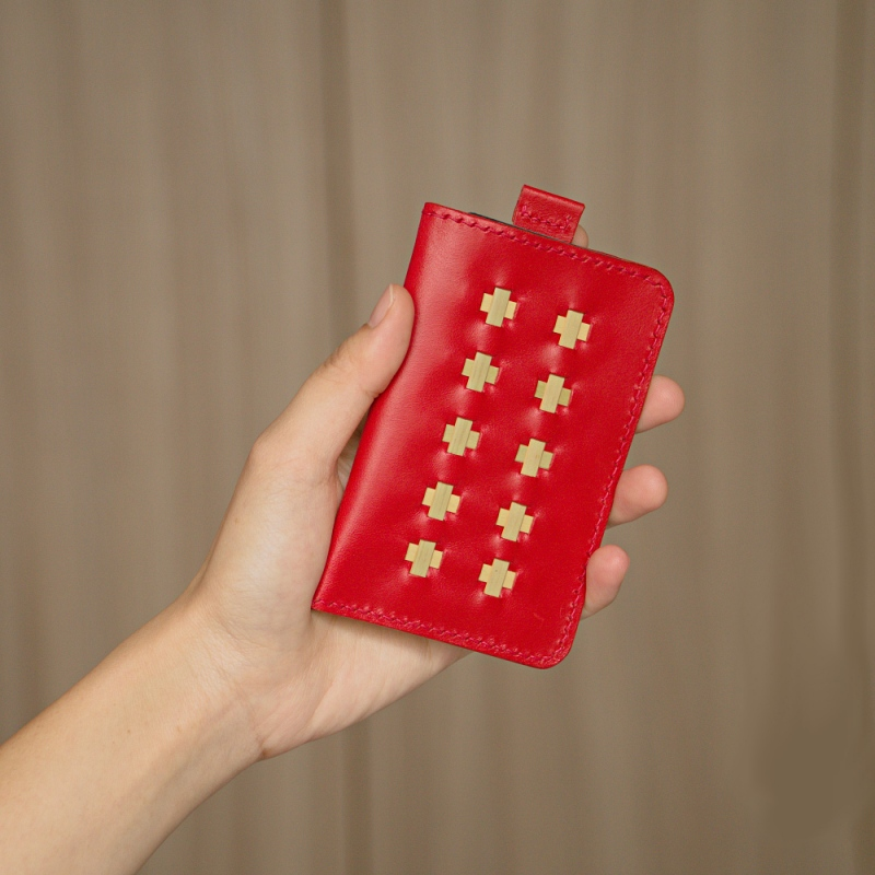 red woven mini wallet for ladies