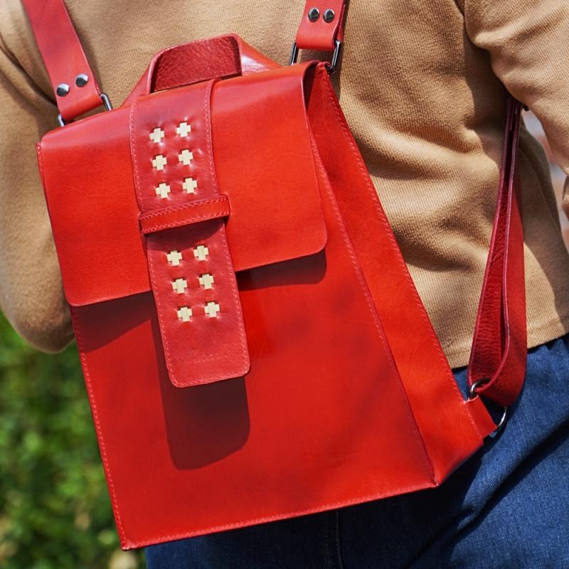 red mini backpack model on back