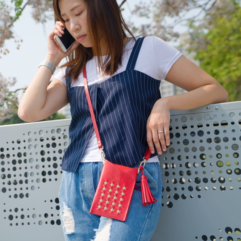 red phone pouch on the phone